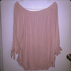 2x pink off shoulder top blouse